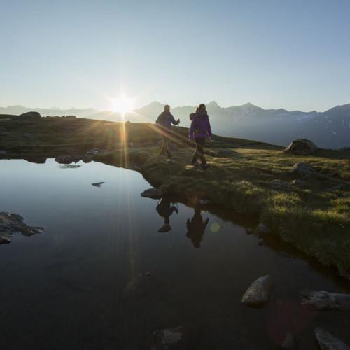 Hiking during sunset